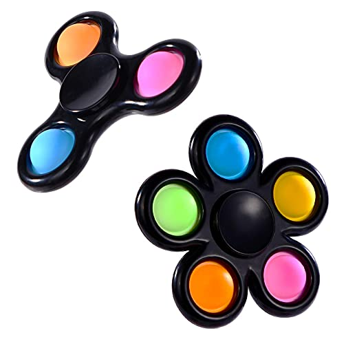 GOHEYI Push Pop Fidget Spinners,Simple Fidget Pack Spinner Toys,Pop Pop Bubble Fidget Toys for Kids Adults, Stress Anxiety Relief Hand Spinner Toy for Autism