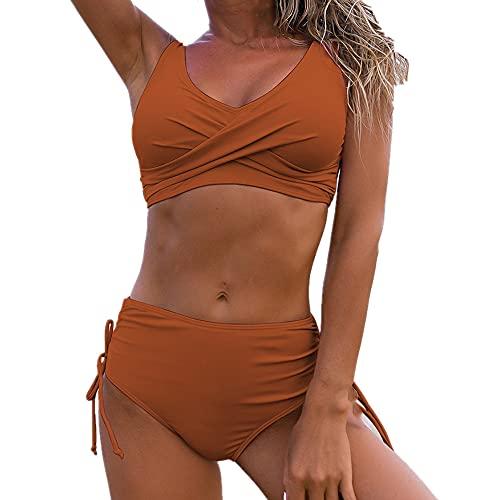 Bikini sólido traje de baño de verano piezas de mujer de cintura alta bikini push up, naranja, L