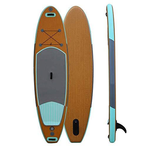 JIEJIE Grano de Madera de la Tarjeta de Paleta de pie for Adultos Tabla de Surf Tablas de Surf esquí acuático Inflable Paddle Board Paddle Board 305X76X15CM QIANGQIANG