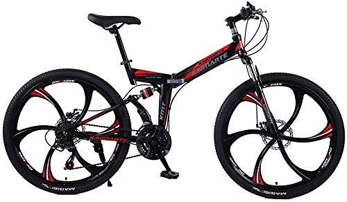 Bicicleta de montaña 24/26 Pulgadas 6 Ruedas de Radio Doble suspensión Bicicleta Plegable 21/24/27 Velocidad MTB Adultos Hombres y Mujeres universales-Enlaces_24 Pulgadas