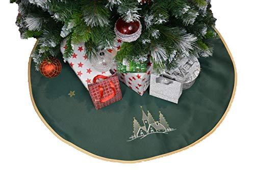 Weihnachtsbaum Rock Weihnachtsbaumdecke Weihnachtsbaum Christbaumunterlage Untersetzer für Weihnachtsbaumständer Tannenbaumunterlage Geschenk Idee Bestickt Rund 90 cm Grün