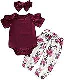 Conjunto de Ropa para Bebé Recién Nacida 3 Piezas Traje para Niñas Pequeñas Tops Mameluco de Color Sólido + Pantalones/Faldas Florales + Diadema (Rojo-2 Manga Corta, 18-24 Meses)