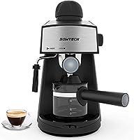 sowtech macchina per caffè espresso e montalatte acciaio inossidabile coffee maker, espresso, 3,5 bar 4 tazze con vapore 800w per cappuccino e latte machiato