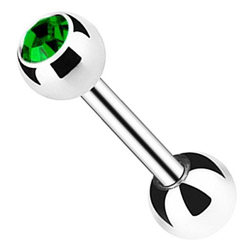 Piersando Tragus Helix Ohr Piercing Cartilage Knorpel Stab Stecker 316 L Chirurgenstahl mit Kristall Kugel Silber 6mm Smaragdgrün