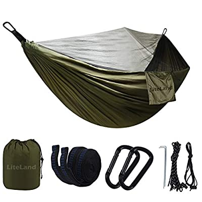 Double Garden Hammock with Mosquito Net for Camping/Outdoor - Lightweight Portable Parachute Hammocks Gear for Backpacking, Survival & Hiking,Travel,Yard,Included Tent Tree Straps and Usage Manual