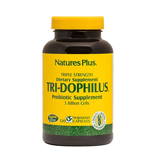 NaturesPlus Tri-Dophilus - 3 Billion Cells, 120 Vegetarian Capsules - Maximum Potency Probiotic Supplement - Friendly Intestinal Bacteria - Gluten-Free - 120 Servings