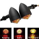 FATECIM Custom 2Pcs Motorcycle LED Turn Signal Lights with Running/Braking Lights, Heavy Duty Indicators Blinkers Lights Universal Black
