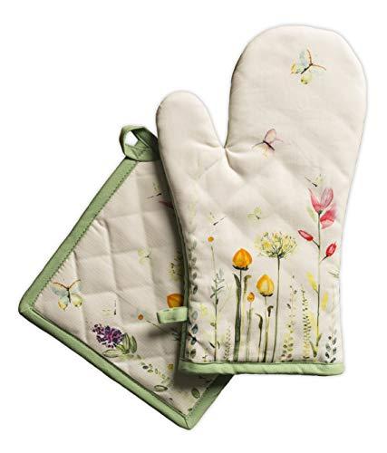 Maison Hermine Botanical Fresh - Set di guanti da forno in 100% cotone (19 cm x 33 cm) e presina (20 cm x 20 cm) per barbecue, cuocere, forno a microonde, barbecue, primavera estate