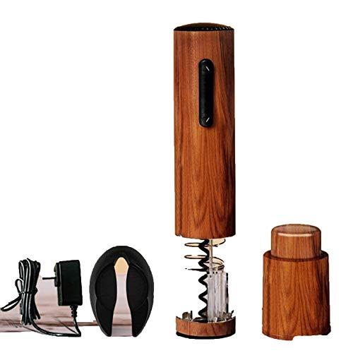 YFGQBCP Abridor de botellas de vino eléctrico, conjunto de sacacorchos de vino eléctrico, patrón de grano de madera, sencillo recargable, duradero, sacacorchos conjunto de combinación totalmente autom