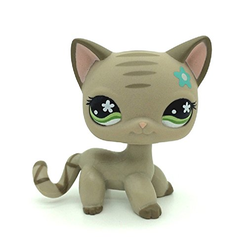 Littlest Pet Shop LPS Gray Short Hair CAT Green Eyes Blue Flower Toy #483