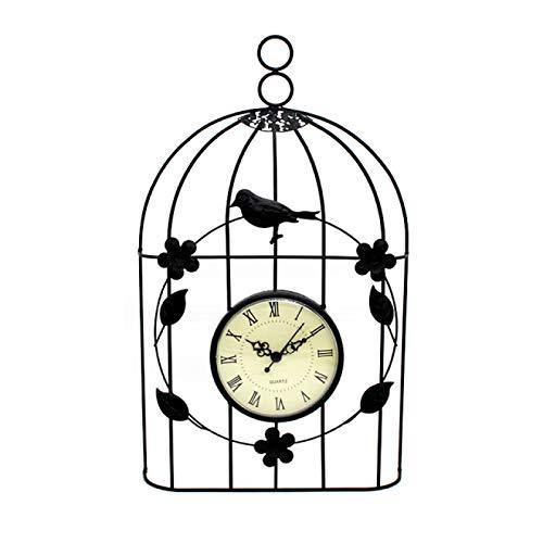 Reloj de pared Jaula de pájaros Reloj de pared Decoración de estilo antiguo vintage Relojes de pared grandes colgantes Decoración de estilo antiguo vintage Reloj colgante de dormitorio 19.5X33X5Cm