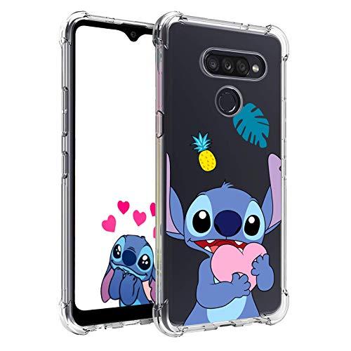 Nico Funda LG V40 ThinQ, LG V40, Lindo Gracioso Dibujos Animados Cáscara Moda, Silicona Gel TPU Transparente Ultra-Delgado Anti-Choque Bumper Case Caso para Teléfono LG V40 (Heart Stitch)