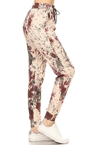 Leggings Depot JGAQ547N373L Made in Mars Print Jogger Pants w/Pockets Large