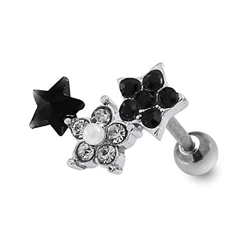 Multi Black Crystal Stein und Perle Stern mit Blume 16 Gauge 316L chirurgischer Stahl Tragus Knorpel Helix Piercing