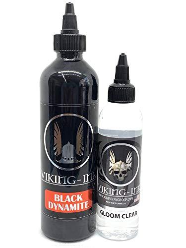 VIKING INK - Encre de Tatouage - Kit Black Dynamite 9oz + Mixer Gloom Clear 4oz - Les meilleures couleurs et noirs - Vegan