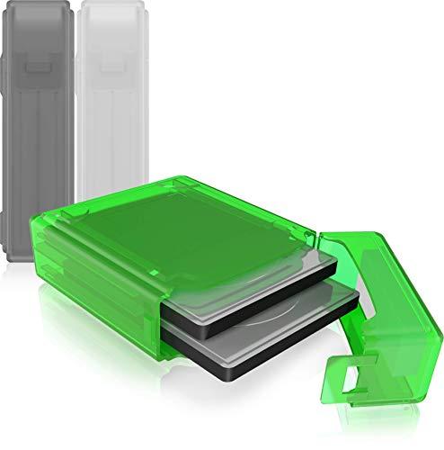 ICY BOX 3er Set Dual Festplatten Box für 2,5 Zoll HDD/SSD zum Schutz oder Aufbewahrung, stapelbar, Beschriftung, Hardcase Hülle, mehrfarbig, IB-AC6025-3