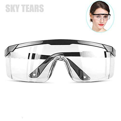 Occhiali di Sicurezza Trasparente Occhiali Protettivi, Antigraffio, Anti Appannamento, Avvolgenti, presa Antiscivolo (Nero)