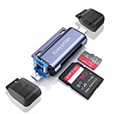 SD Card Reader, USB 3.0 USB C Memory Card Reader OTG Card Adapter for TF SD Micro SD SDXC SDHC MMC RS-MMC Micro SDXC Micro SDHC UHS-I for MacBook, PC, Laptop, Smart Phones, Tablets
