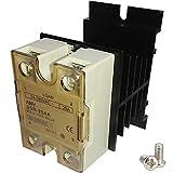 TIHOOD SSR-25 AA 25A AC 80-250V to AC 24V-380V SSR Solid State Relay + Heat Sink (AC to AC 25A)