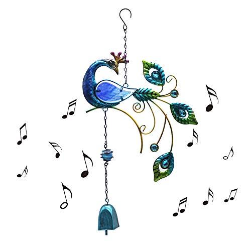 Ironhorse Windspiel im Pfauen-Design, groß, zum Aufhängen, für den Außenbereich, Stimmung, entspannende Melodie