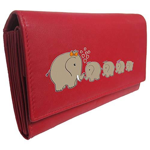 elephant family red womens purse