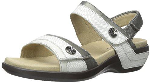 Aravon Women's Katherine-AR Flat Sandal,White/Multi,6 B US