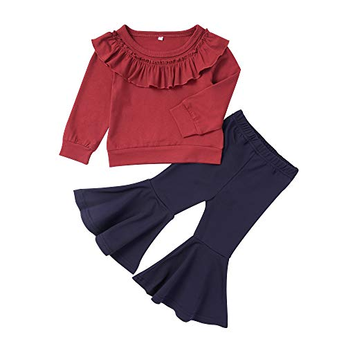 2PCS Toddler Baby Girls Clothes Ruffle Long Sleeve T-Shirt Tops+ Flare Pants Autumn Outfits for Girls (Ruffle Top+Flare Pant, 3-4T)