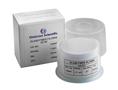 Omicron 133047 Borosilicate Glass Fiber Binder Free Filter, 1.2 μm, 47 mm (Pack of 100)