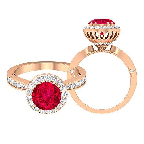 Anillo de compromiso único, D-VSSI 2,6 quilates solitario de rubí creado por laboratorio, anillo de halo, anillo de boda nupcial, anillo de declaración, anillo antiguo, 14K Oro rosa, Size:EU 69