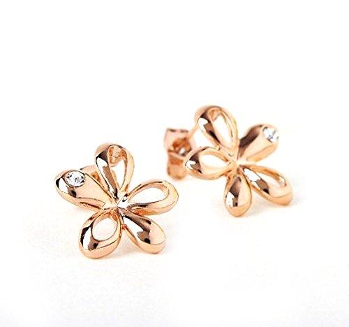 Lily - Orecchini a forma di fiore placcato oro con cristalli austriaci