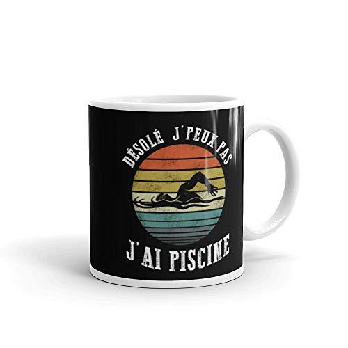 Tee Shirt Nageur DÉSOLÉ J'PEUX PAS J'AI PISCINE Nager Sportif White glossy mug