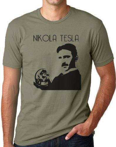 OM3 - Nikola Tesla - T-Shirt Physiker Erfinder Strom Nerd Elektrizität Energie Teslatron Geek Emo, L, Oliv