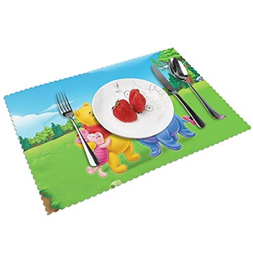 Anime Cartoon Winnie the Pooh - Juego de 4 manteles de cocina (poliéster), lavables y antideslizantes resistentes al calor, fáciles de limpiar.