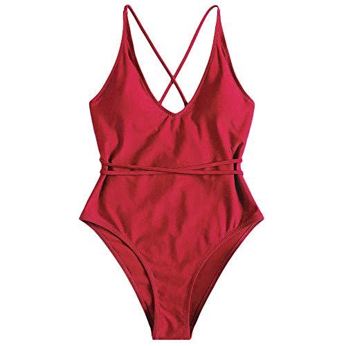 ZAFUL Set Bikini Donna Imbottito, Costume da bagno intero, costume da bagno con schiena aperta, Pushup Sexy Beachwear (M, Rosso)