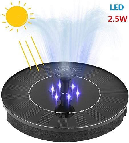 Solar Springbrunnen mit LED,2.5W Solar Teichpumpe Outdoor Wasserpumpe mit Verbessert 4-in-1-Düse Solar Panel Brunnen für Vogelbad, Aquarium, Teich, Fisch-Behälter,Gartendekoration
