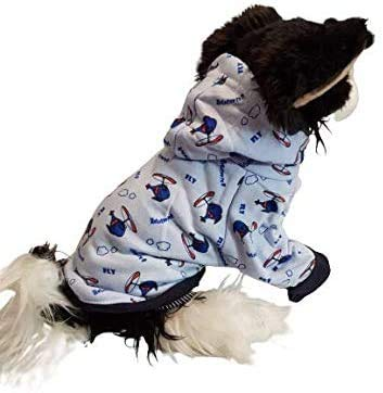 """Pretty Pampered Pets XXS XS XS Small Teacup Chihuahua Clothes Clothing Puppy Dog Toy Breeds Baby Blue Helicopter Hoodie Leash Hole Coat (XS - 7.5"""" VERY Tiny, Blue)"""