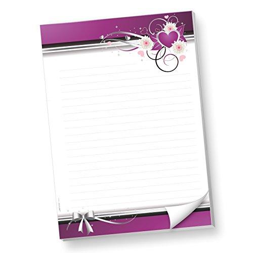 Schreibblöcke DIN A4 liniert lila Herzen (2 Stück) Briefblock Liebe mit Linien