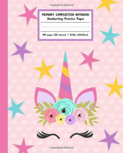 Primary Composition Notebook Handwriting Practice Paper: Adorable Boho Flowers Unicorn with Blank Writing Sheets for Kindergarten to 2nd Grade Elementary Students