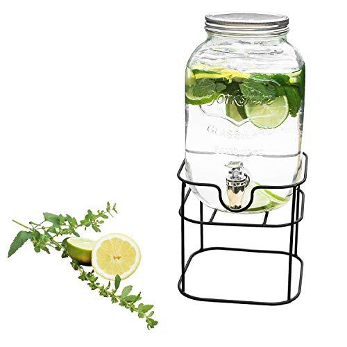 Dispensador de bebidas de 4 litros, diámetro 15 x altura 25 cm, incluye grifo y soporte, dispensador de zumo, jarra de cristal, transparente, negro, 871125214978