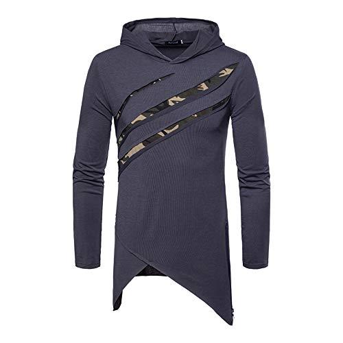 BOZEVON Pull à Capuche Homme - Sweatshirt Camouflage à Manches Longues et Mode Ourlet Irrégulier, Style 2, EU XL=Tag 2XL