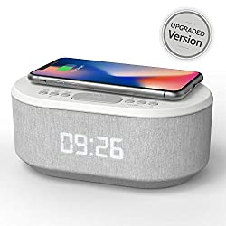 Bedside Radio Alarm Clock with USB Charger, Bluetooth Speaker, QI Wireless Charging, Dual Alarm & Dimmable LED Display