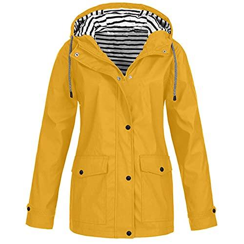 N\P Chaqueta de invierno para mujer Solid Rain Outdoor Plus impermeable, amarillo, M