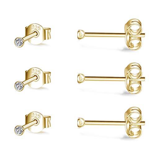 CERSLIMO - Set di 3 paia di orecchini a lobo in argento Sterling con zirconia cubica, 2 mm e Argento, colore: 3 paia da 2 mm, dorato., cod. 010d-2