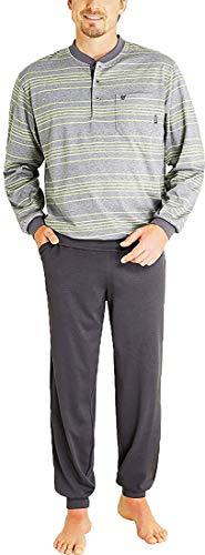 hajo - Herren Schlafanzug Langarm (Pyjama) grau Melange Klima-Komfort Qualität* 54