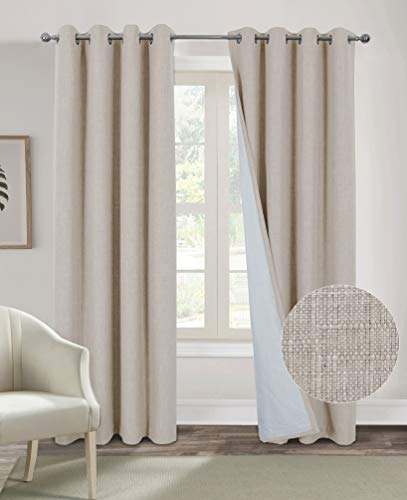Alexandra Cole Ivory White Curtains for Living Room Bedroom Burlap Curtains 84 Inch Length 100% Blackout Thermal Insulated Faux Linen Casual Textured Window Curtains 2 Panels