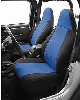 Coverking SPC198 Custom Fit Seat Cover for Jeep Wrangler JK 2-Door - (Neoprene, Black/Blue)