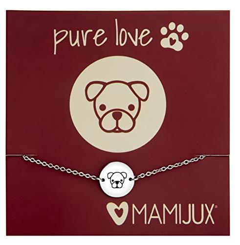 MAMIJUX Pulsera de botón de acero, dedicada a todos los amantes de esta raza de perro Calzoncillos tipo bóxer.