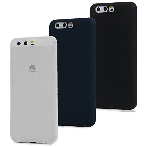 MAXFE.CO 3X Cover Huawei P10, Custodia Morbida Silicone TPU Flessibile Gomma Case Ultra Sottile Cassa Protettiva per Huawei P10 - Nero + Bianco + Blu Scuro