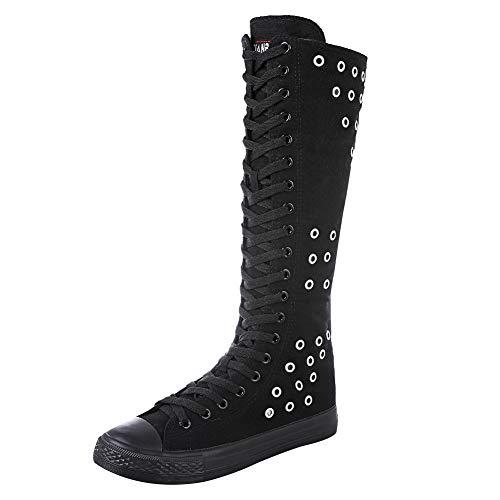 Jamron Mädchen Damen Modisch Knie Hoch Schnüren Segeltuch Stiefel Rein Schwarz Leinenschuhe Reißverschluss Tanzschuhe Ösen SN813 EU37