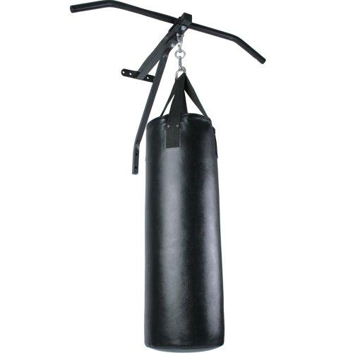Physionics® Boxsack mit Klimmzugstange - Punchingsack: ØxH 28x83 cm (4 reißfeste Gewebegurtbänder), Reckstange: 83 cm Breit (aus Stahl) - Sandsack + Pull Up Bar Set